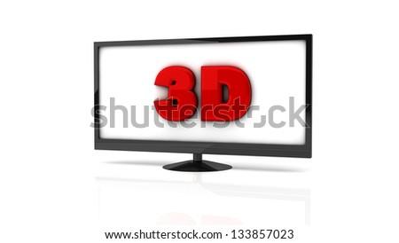 Television 3d Symbol On White Background Stock Illustration