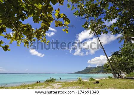 Temae's beach in Moorea, French Polynesia - stock photo