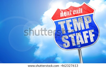 temp staff, 3D rendering, blue street sign