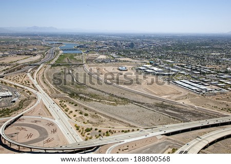 Tempe, Arizona skyline looking east along the Salt River - stock photo