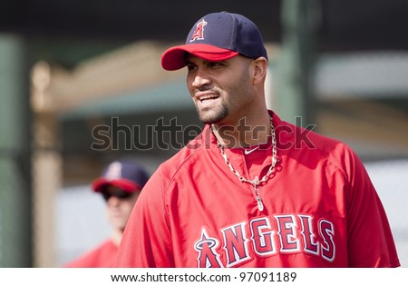 TEMPE, ARIZONA, USA – FEBRUARY 22: Albert Pujols of the Los Angeles Angels of Anaheim at Spring Training in Tempe Arizona on February 22 2012.