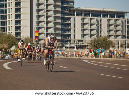 TEMPE, AZ - NOV. 22:  Francois Bedard in the cycling stage of the Phoenix Ironman Triathlon on November 22, 2010 in Tempe, Arizona.