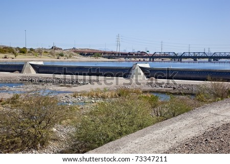 Tempe Town Lake Inflatable Dam - stock photo
