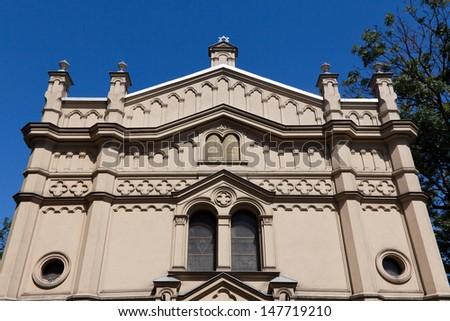 tempel synagogue in distric of krakow kazimierz in poland on miodowa street - stock photo