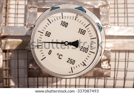 temperature gauge connect with grating pipeline background.
