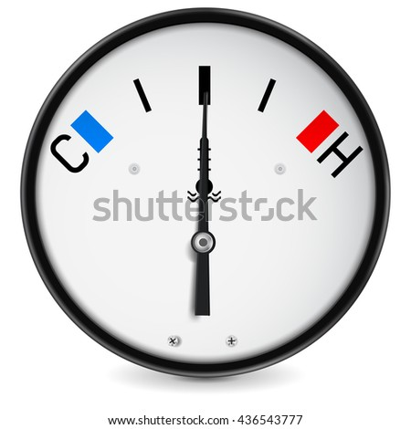 Temperature gauge. Illustration isolated on white background. Raster version