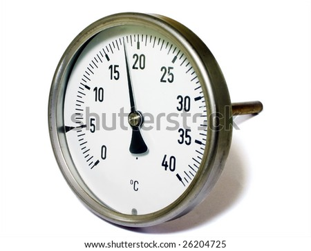 Temperature gauge isolated on white