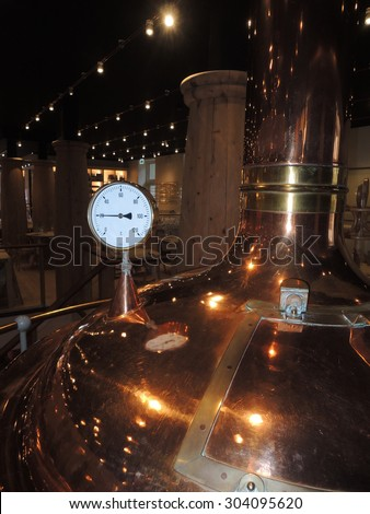 Temperature gauge on a micro brewery.  - stock photo