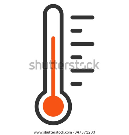 Temperature Level glyph icon. Style is bicolor flat symbol, orange and gray colors, rounded angles, white background.