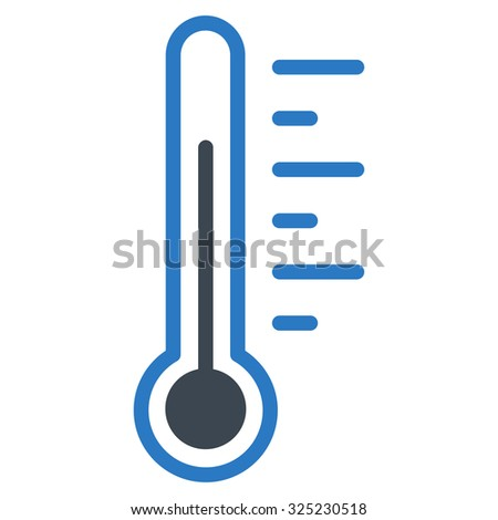 Temperature Level glyph icon. Style is bicolor flat symbol, smooth blue colors, rounded angles, white background.