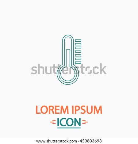temperature meter Flat thin line icon on white background. Illustration pictogram - stock photo