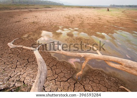 Temperature rise impact to water in the lake dry, World Climate change and global warming effect - stock photo