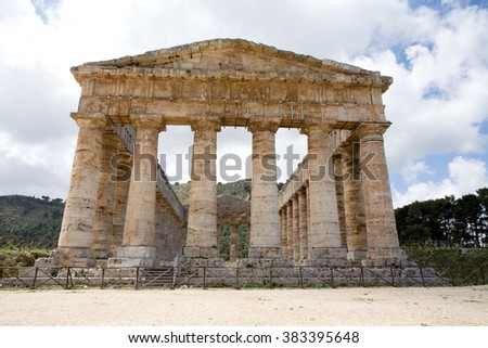 Tempio di Segesta, antique temple front view closeup, Sicily, Italy - stock photo