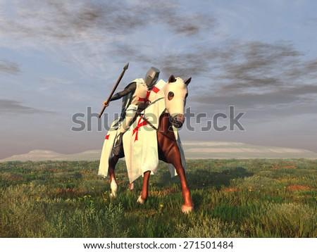 Templar Knight on horseback - stock photo