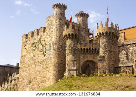Templarium Ponferrada Castle, in Santiago Road, Spain - stock photo