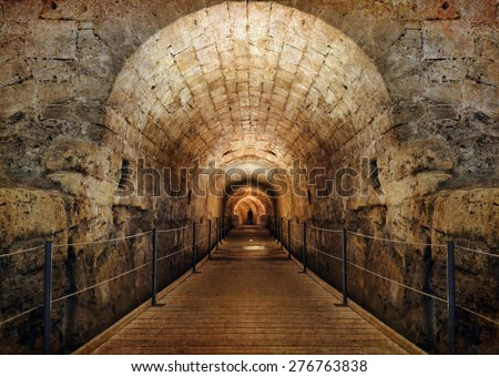 Templars tunnel (12th century), Mediterranean, Israel. Image done on the old textured paper in retro style - stock photo