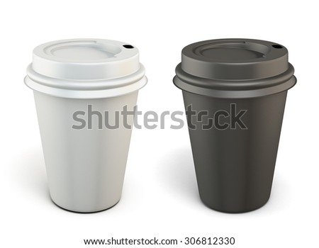 Template black and white plastic cups for coffee isolated on white background. 3d. - stock photo