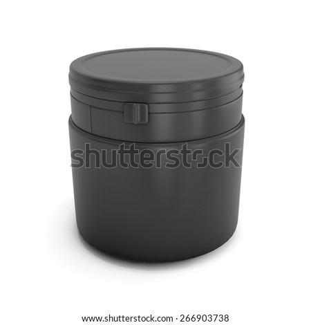 Template black plastic can for products. Plastic can with a fastener. White blank can for your design. 3d illustration.