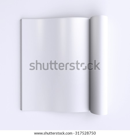 Template blank pages of an open journal, newspapers or books. 3d illustration. Top view. - stock photo