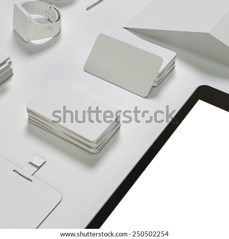 Template business mock up for branding. High resolution. 3D render.