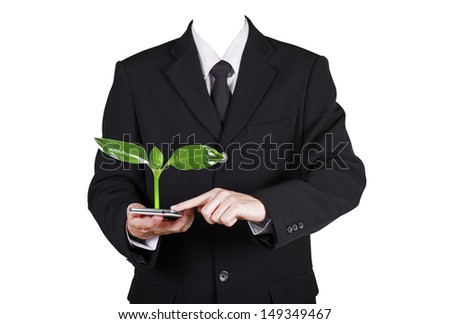 Template businessman touch on smart phone for environment, isolated included person clipping path