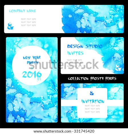 Template cards for invitations, business cards, bookmarks, wedding, birthday. Different sizes. - stock photo