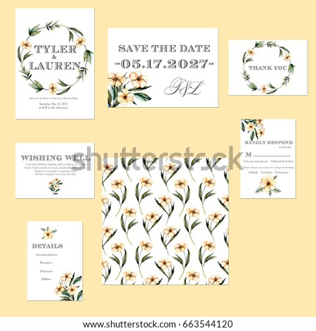Template Cards Set With Watercolor Pink Flowers Illustrations Wedding Design For Invitation Save The