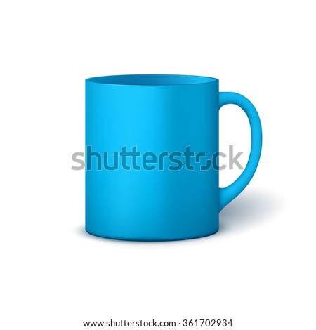 Template ceramic clean bright blue mug with a matte effect, without the bright glare, isolated on a white background - stock photo