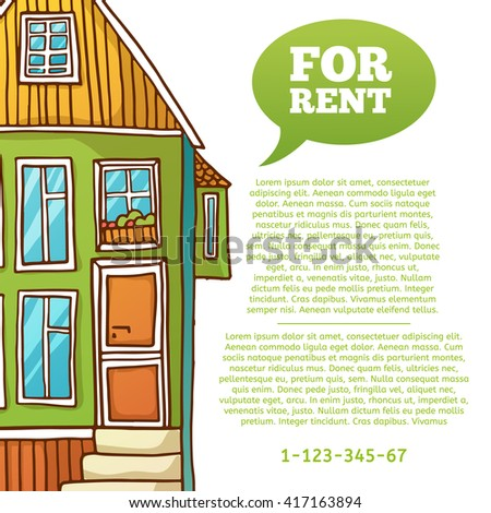 Template design banner or poster of renting and buying homes. Green cartoon houses.  Place for your text. - stock photo