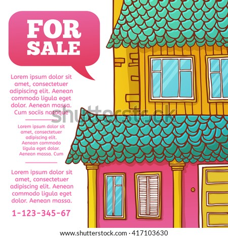 Template design banner or poster of renting and buying homes. Pink cartoon houses.  - stock photo