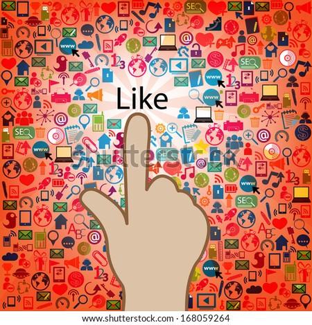 Template design like at Social network light bulb idea illustration  - stock photo