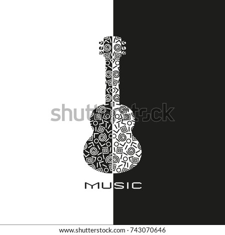 template design poster doodle acoustic guitar stock illustration