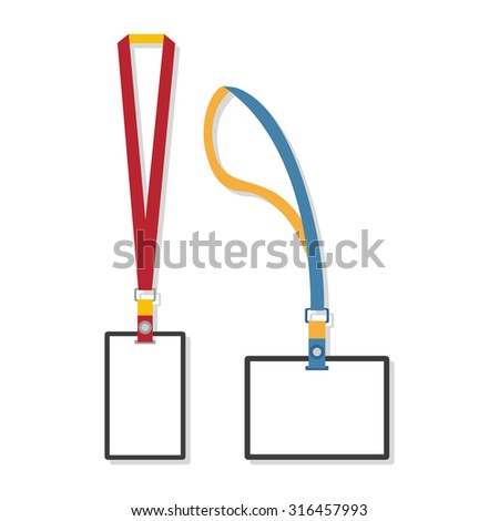 Template, flat design of lanyard end badge isolated on white. Rasterized Copy