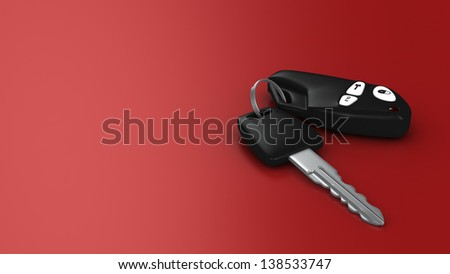 Template for a transport banner: car key and security system on red background