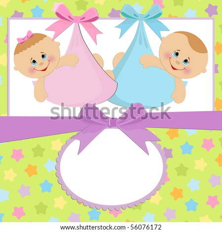 Template for baby's postcard with twins