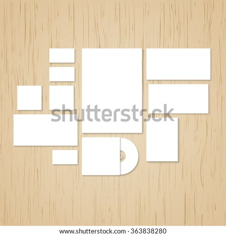 Template for branding and identity. Promoting and presentations corporate id design and visualization. Consists of the elements paper, a4 letterheads, cd, business card, envelope on gray background.  - stock photo