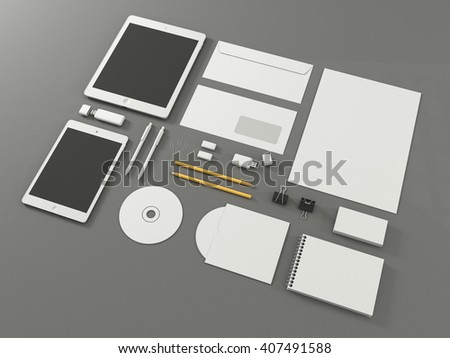 Template for branding identity with tablet computer and mini tab. On gray background. Hgh resolution 3d illustration - stock photo