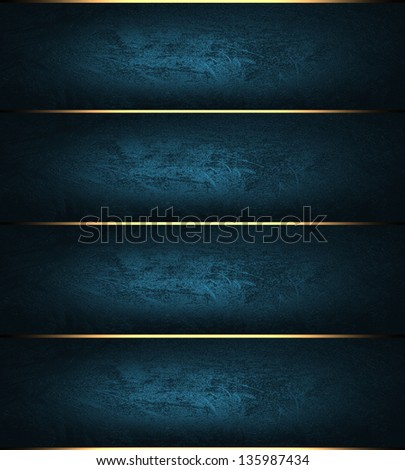 Template for design. Abstract blue striped background with gold trim - stock photo