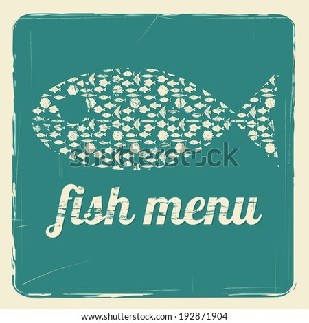 template for fish menu with retro effect raster version - stock photo
