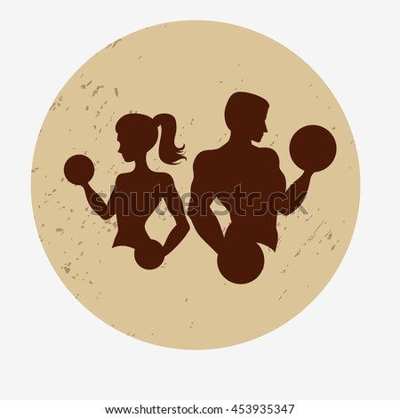 Template for fitness logo, label, emblem fitness club and gym. Silhouette of a man / athlete and slender woman with dumbbells.