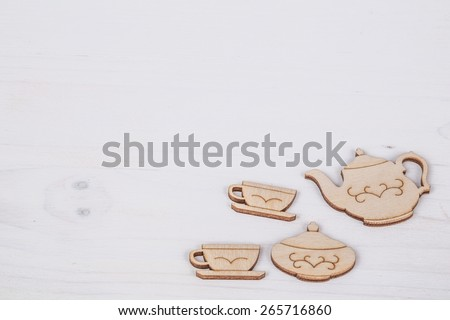 template for mother's day with tea cups - stock photo