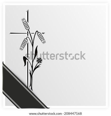 template for obituary or funeral with black ribbon - stock photo