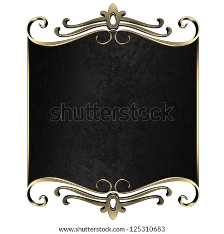 Template for writing. Black nameplate with gold ornate edges, isolated on white background