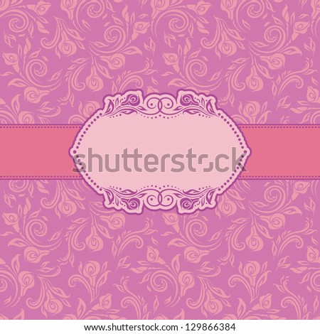 Template frame design for greeting card. Ornate floral background. - stock photo