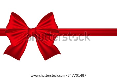 Template greeting card with a red bow
