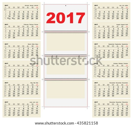 Quarterly Calendar Template Illustration Vector Stock Vector