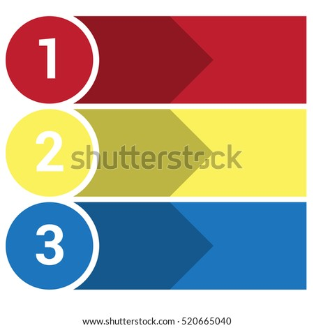 Template Infographic, the numbered colourful horizontal strips, arrows points area for text three positions.