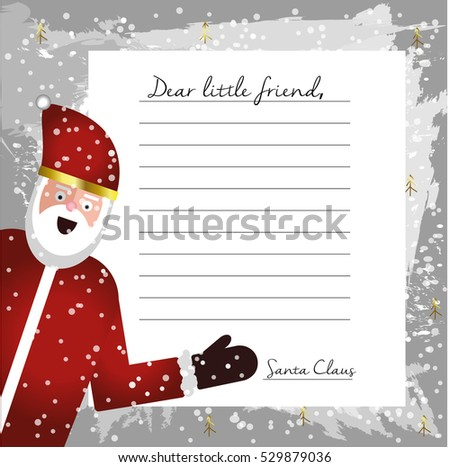 Template letter santa claus blank your stock illustration 529879036 template letter from santa claus blank for your text beautiful card with flat character santa spiritdancerdesigns Image collections