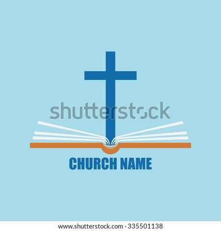 Template logo for the church in the form of a cross with the Bible. - stock photo