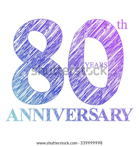 template logo with a circle for anniversary. 80 - stock photo